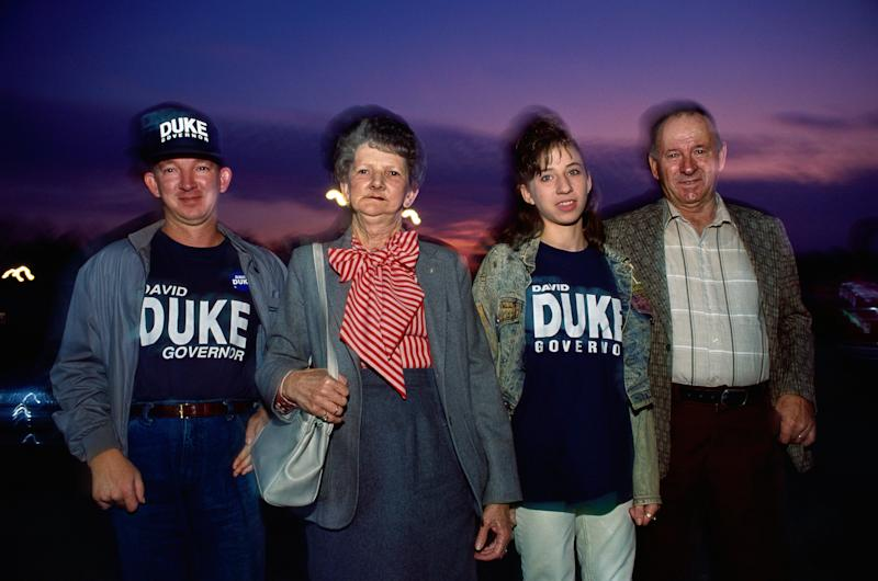 Supporters of former Ku Klux Klan grand wizard David Duke are seen in an undated photo. Duke ran for governor of Louisiana in 1991.