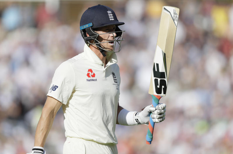 England's Joe Denly leaves the pitch after he is caught by Australia's Steve Smith off the bowling of Australia's Peter Siddle during the third day of the fifth Ashes test match between England and Australia at the Oval cricket ground in London, Saturday, Sept. 14, 2019. (AP Photo/Kirsty Wigglesworth)