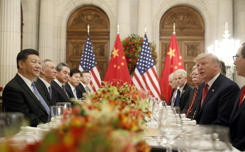 FILE - In this Dec. 1, 2018, file photo President Donald Trump speaks as China's President Xi Jinping listens during their bilateral meeting at the G20 Summit in Buenos Aires, Argentina. Trump meets with President Xi Jinping at the G-20 meeting in Japan this week. (AP Photo/Pablo Martinez Monsivais, File)