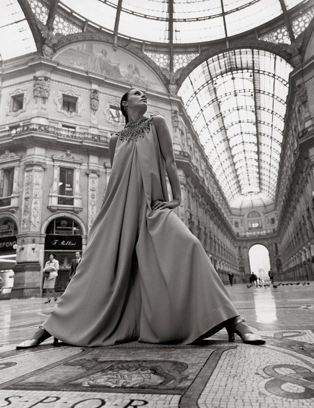 Model Katharina Sarnitz in a creation by Givenchy, photographed in Milan, 1969.