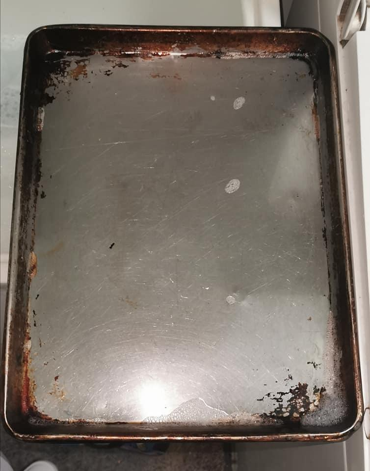 BEFORE: nothing would budge the baked on grime in the corners of the tray. Photo: Facebook.