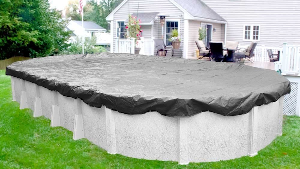 If you have an oval-shaped above-ground pool, Robelle makes a great cover that will protect every inch.