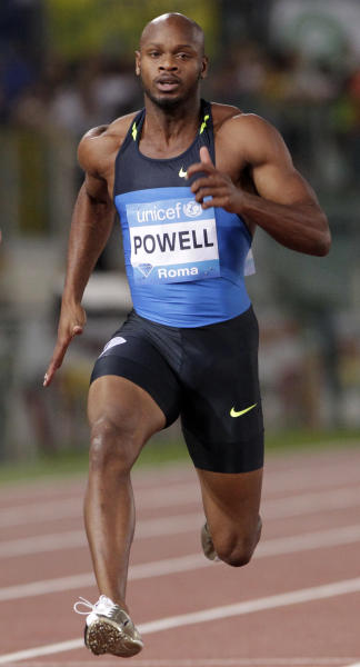 FILE - In this June 10, 2010, file photo, Jamaica's Asafa Powell runs to win the men's 100 meter event during the IAAF Diamond League Golden Gala athletics meeting at Rome's Olympic stadium. Former 100-meter world-record holder Powell and Jamaican teammate Sherone Simpson have each tested positive for banned stimulants, according to their agent. Paul Doyle told The Associated Press on Sunday, July 14, 2013, that they tested positive for the stimulant oxilofrine at the Jamaican championships and were just recently notified. (AP Photo/Andrew Medichini, File)