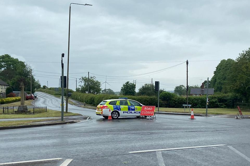 Police have closed off Tom Lane, near Duckmanton  and warned the school to keep all children inside until the matter has been resolved (Nathan Warby)