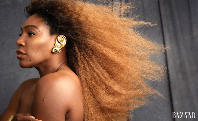 """Serena Williams covers Harper's BAZAAR's August Issue """"Unretouched."""" Credit: Alexi Lubomirski)"""