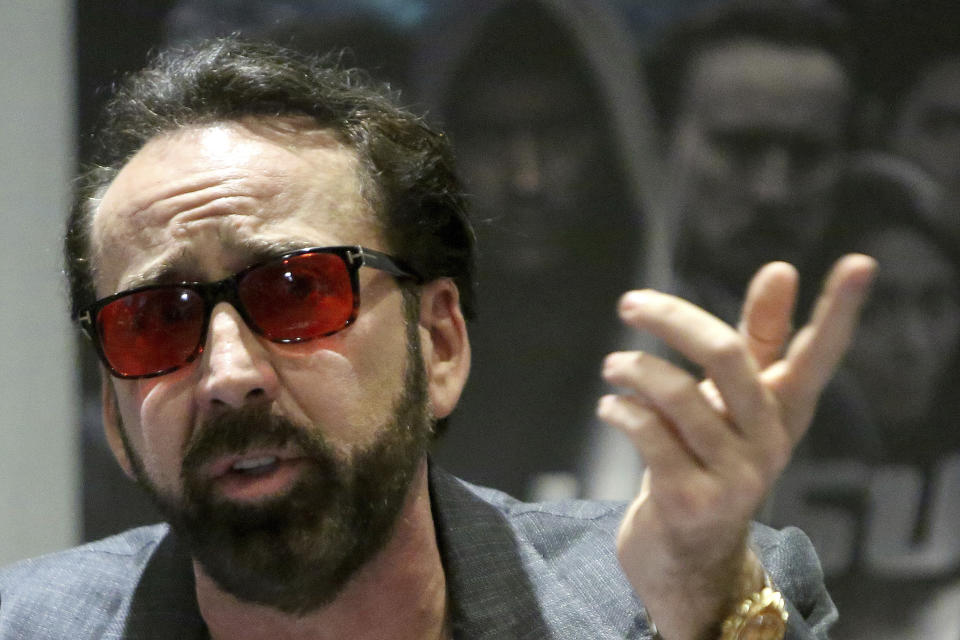 Academy award winning actor Nicolas Cage speaks at a news conference for his new film Jiu Jitsu being filmed on the eastern Mediterranean island nation of Cyprus, in the Cypriot capital Nicosia on Saturday, June 29, 2019. Cage said the film which is a fusion of the action and science fiction genres which he has admired and grew up with drew him to the project. He said Cyprus had a