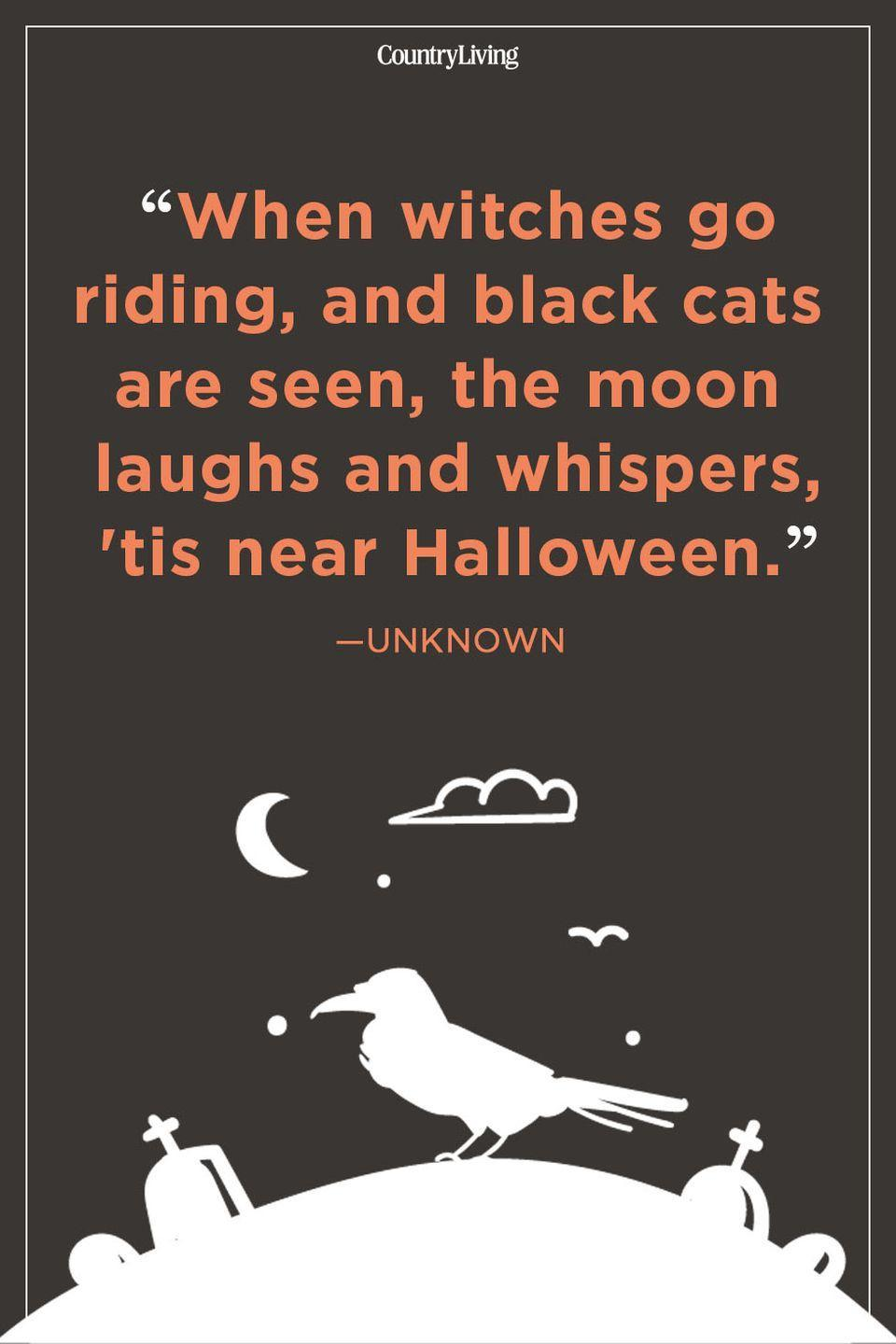 """<p>""""When witches go riding, and black cats are seen, the moon laughs and whispers, 'tis near Halloween.""""</p>"""