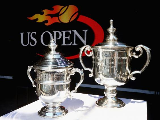The women's and men's US Open trophies (Getty Images for USTA)