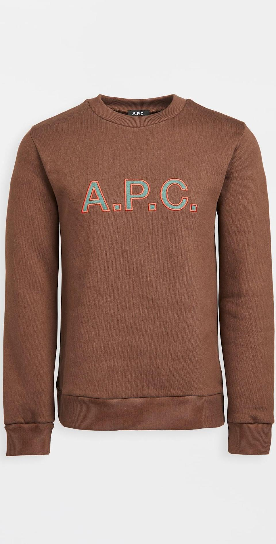 <p>This <span>A.P.C. Hugues Sweatshirt</span> ($255) not only has an easy-to-style silhouette, but the color makes it particularly fall-friendly. The embossed letters make it effortlessly cool.</p>