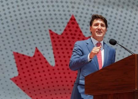 Prime Minister Justin Trudeau speaks during Canada Day festivities on Parliament Hill in Ottawa