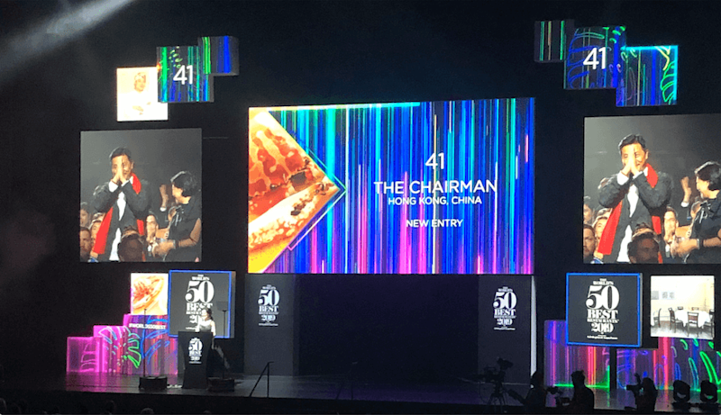 Chef-proprietor of The Chairman, Danny Yip, at the World's 50 Best Restaurants ceremony held in Singapore. Photo: Coconuts Media