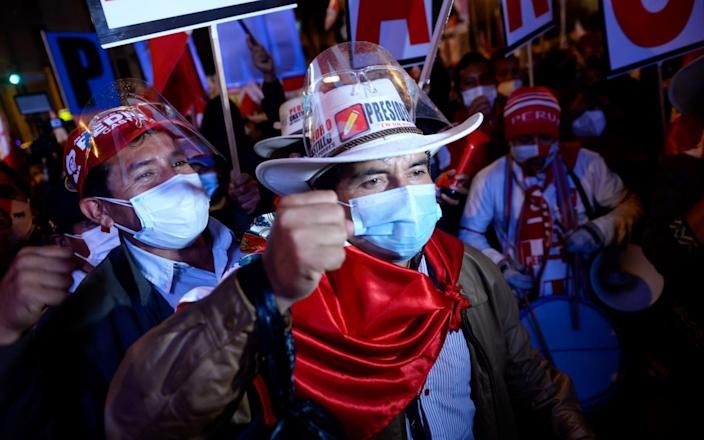 Attendees wait for the arrival of Pedro Castillo, presidential candidate for the Peru Libre party, in Lima - Miguel Yovera/Bloomberg