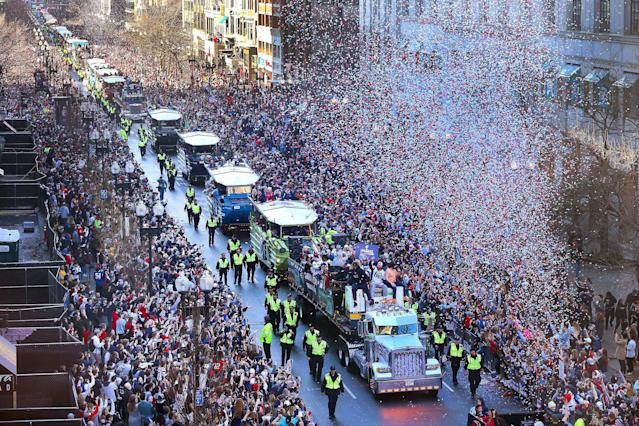 "The <a class=""link rapid-noclick-resp"" href=""/nfl/teams/new-england/"" data-ylk=""slk:New England Patriots"">New England Patriots</a> celebrate their Super Bowl LIII victory with a parade in Boston on Tuesday. (Getty Images)"