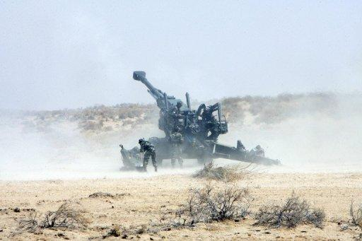 File photo shows Indian soldiers firing a Bofors gun during joint Army and Air Force exercises in India's desert state of Rajasthan. While India was the world's largest arms importer between 2007 and 2011, its neighbour and sometime foe Pakistan was the third largest
