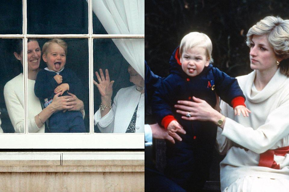 <p>While the royal tots are often impressively composed, there are some sweet moments in which we see their young playfulness. While Prince George, left, appears to joyfully stick his tongue out to the crowd, Prince William seems to be less enthused.</p>
