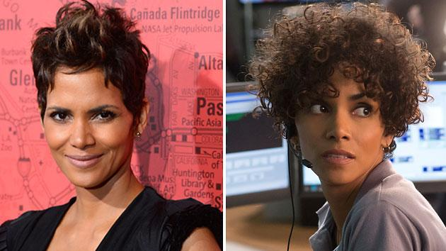 Halle Berry's normal 'do, left, and her curly hair in 'The Call'