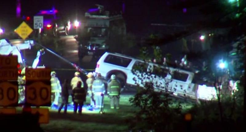 The scene of the crash in upstate New York