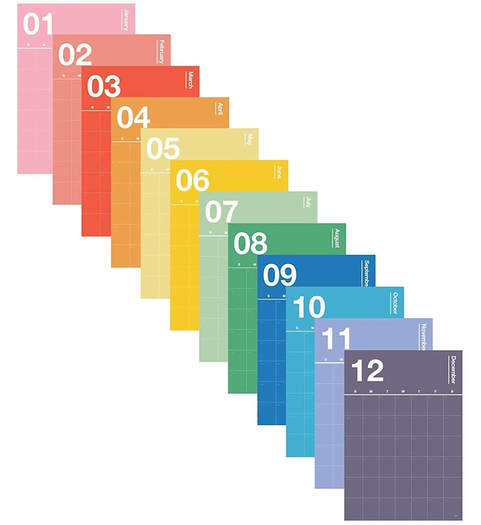 """<h2>Poketo Colorful Open Dated Spectrum Poster Calendar</h2><br>2020's been a dark year, but 2021 is just around the corner and we're hoping it's going to be a little bit better. Usher in a positive outlook for your gift recipient with a happy rainbow-hued wall calendar.<br><br><strong>Poketo</strong> Colorful Open Dated Spectrum Poster Calendar, $, available at <a href=""""https://www.amazon.com/Colorful-Dated-Spectrum-Poster-Calendar/dp/B07VY6NMLV"""" rel=""""nofollow noopener"""" target=""""_blank"""" data-ylk=""""slk:Amazon"""" class=""""link rapid-noclick-resp"""">Amazon</a>"""