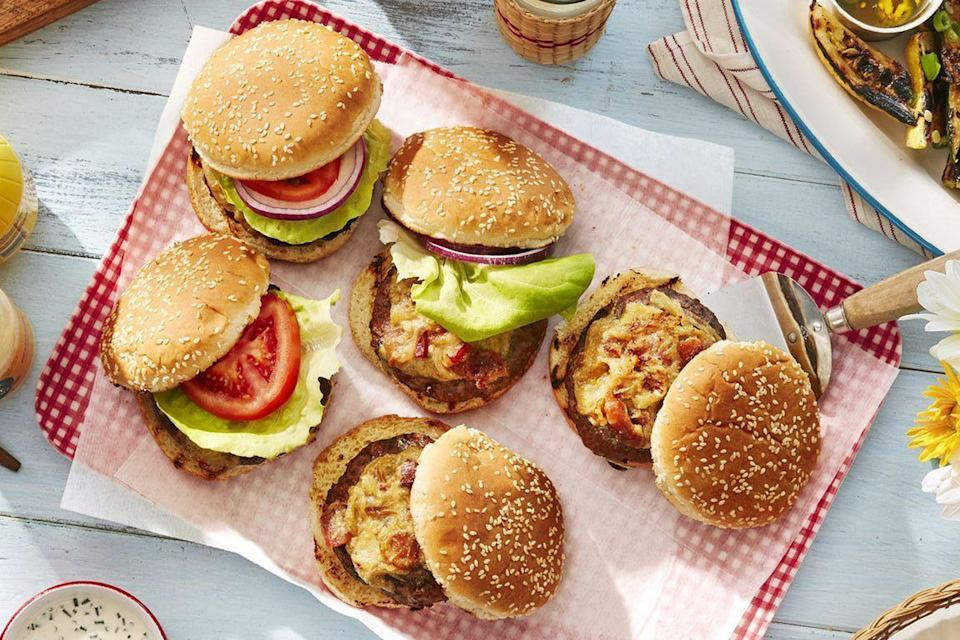 "<p>We don't need to tell you to make this your go-to burger recipe. One look at your guests' faces after their first bite, and you'll get the idea all on your own.</p><p><strong><a href=""https://www.countryliving.com/food-drinks/a28188362/worcestershire-glazed-burgers-recipe/"" rel=""nofollow noopener"" target=""_blank"" data-ylk=""slk:Get the recipe"" class=""link rapid-noclick-resp"">Get the recipe</a>.</strong></p><p><strong><a class=""link rapid-noclick-resp"" href=""https://www.amazon.com/Anpro-Grilling-Accessories-Stainless-Barbecue/dp/B07X8ZN8MS/?tag=syn-yahoo-20&ascsubtag=%5Bartid%7C10050.g.3663%5Bsrc%7Cyahoo-us"" rel=""nofollow noopener"" target=""_blank"" data-ylk=""slk:SHOP GRILLING TOOLS"">SHOP GRILLING TOOLS</a></strong></p>"