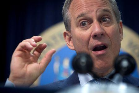 FILE PHOTO: Schneiderman speaks during news conference in New York
