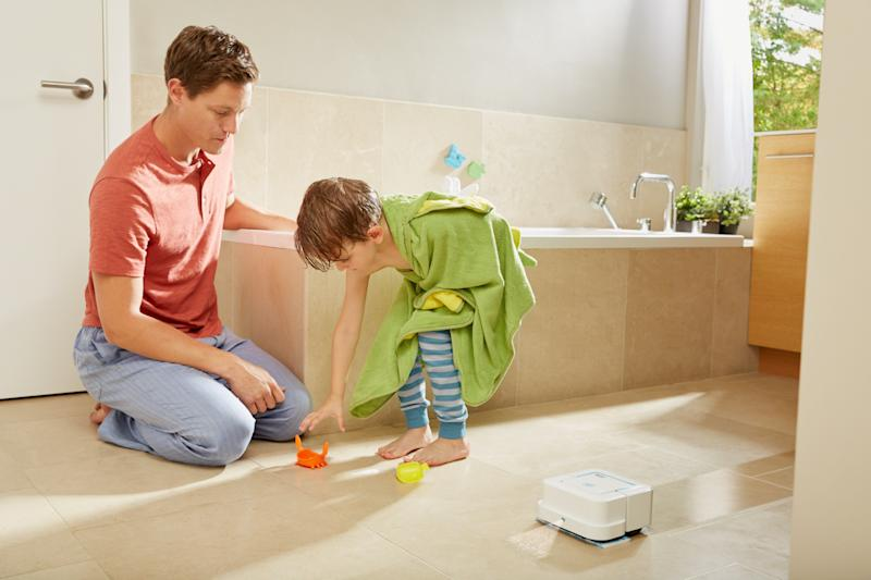 Bathroom with Braava robot mopping the floor