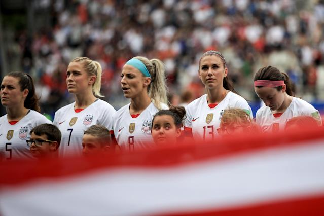Members of the U.S. women's national team are expecting a tough game against the Netherlands in Sunday's World Cup final. (Photo by Marc Atkins/Getty Images)