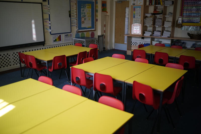 "ALTRINCHAM, ENGLAND - APRIL 08: A classroom lays dormant at Oldfield Brow Primary School during the coronavirus lockdown on April 08, 2020 in Altrincham, England. The government announced the closure of UK schools from March 20 except for the children of key workers, such as NHS staff, and vulnerable pupils, such as those looked after by local authorities. The prime minister has said schools will remain closed ""until further notice,"" and many speculate they may not reopen until next term. (Photo by Christopher Furlong/Getty Images)"