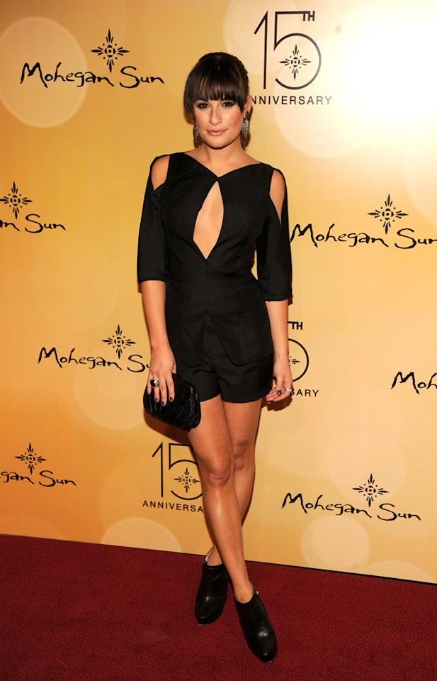 Lea Michele wore a racy cutaway black ensemble by designer Luca Luca when she attended the Mohegan Sun 15th Anniversary celebration on October 22, 2011 in Uncasville, Connecticut.