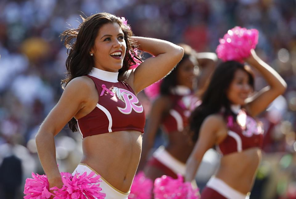 <p>Washington Redskins cheerleaders perform in the first half of an NFL football game between the Redskins and the Philadelphia Eagles, Sunday, Oct. 16, 2016, in Landover, Md. (AP Photo/Alex Brandon) </p>