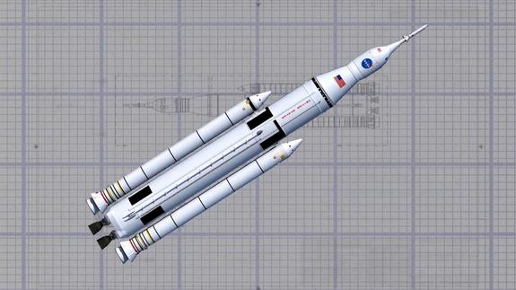 Artist concept of the Space Launch System (SLS) wireframe design. On July 31, 2013 NASA successfully completed the SLS Program preliminary design review.