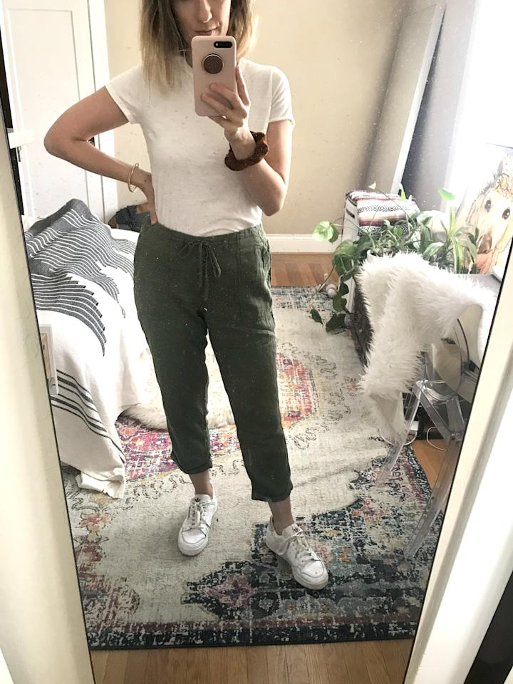 "<p>They slipped on with ease and had tons of space around the thighs, but didn't look too billowy, either. </p> <p><a href=""https://www.popsugar.com/buy/Old-Navy-Mid-Rise-Soft-Twill-Utility-Pants-570284?p_name=Old%20Navy%20Mid-Rise%20Soft-Twill%20Utility%20Pants&retailer=oldnavy.gap.com&pid=570284&price=20&evar1=fab%3Aus&evar9=47438687&evar98=https%3A%2F%2Fwww.popsugar.com%2Fphoto-gallery%2F47438687%2Fimage%2F47439271%2FThey-Get-For-Comfort&list1=shopping%2Cold%20navy%2Ceditors%20pick%2Cpants&prop13=api&pdata=1"" rel=""nofollow"" data-shoppable-link=""1"" target=""_blank"" class=""ga-track"" data-ga-category=""Related"" data-ga-label=""https://oldnavy.gap.com/browse/product.do?pid=578670#pdp-page-content"" data-ga-action=""In-Line Links"">Old Navy Mid-Rise Soft-Twill Utility Pants</a> ($20, originally $40)</p>"