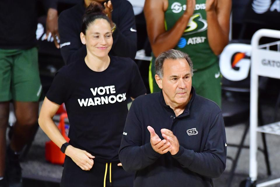 PALMETTO, FLORIDA - AUGUST 04: Head coach Gary Kloppenburg (R) and Sue Bird #10 of the Seattle Storm react to a play during the second half of a game against the Connecticut Sun at Feld Entertainment Center on August 04, 2020 in Palmetto, Florida. NOTE TO USER: User expressly acknowledges and agrees that, by downloading and or using this photograph, User is consenting to the terms and conditions of the Getty Images License Agreement. (Photo by Julio Aguilar/Getty Images)