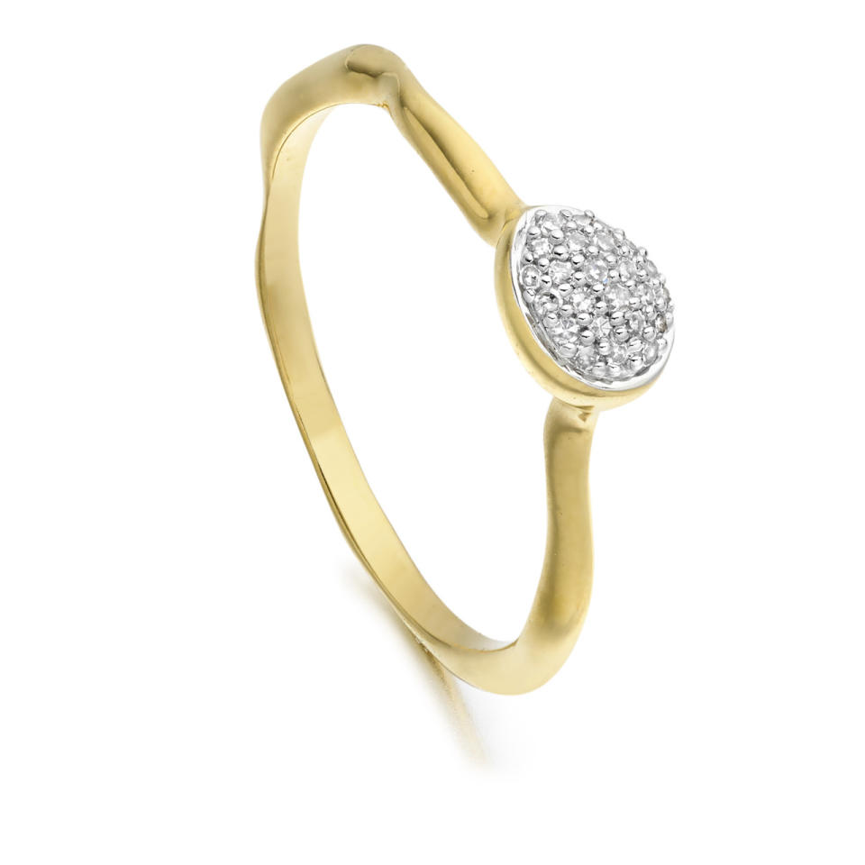 """<p><i><a href=""""http://www.monicavinader.com/siren-pave-small-stacking-ring/gold-vermeil-siren-diamond-small-stacking-ring-diamond?search=siren%20stacking%20ring%20diamond"""">Monica Vinader, £160</a></i></p>"""