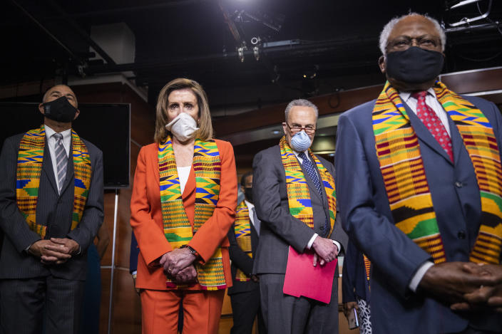 From left; Rep. Lacy Clay, D-Mo., House Speaker Nancy Pelosi of Calif., Senate Minority Leader Chuck Schumer, D-N.Y., and House Majority Whip James Clyburn of S.C., listen to questions from reporters during a news conference to unveil policing reform and equal justice legislation on Capitol Hill, Monday, June 8, 2020, in Washington. (AP Photo/Manuel Balce Ceneta)