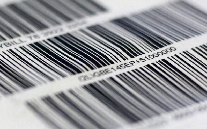 Barcodes are seen on a package in London