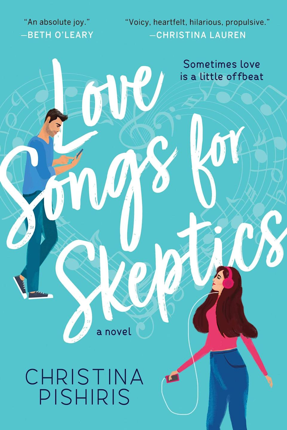 <p>Music plays a central theme in <span><strong>Love Songs For Skeptics</strong> by Christina Pishiris</span> ($15), which follows music journalist Zoë Frixos as she tries to save the struggling music magazine she writes for from going under. The one thing she knows can save them is landing an interview with a reclusive rock idol, and she won't let anything stand in her way - not even the musician's very annoying, very sexy publicist.</p> <p>This is a fast, fun read with lots of personality. The plot is entertaining (there's a lot going on, but in a good way), and the slow-burn romance kept me on my toes - I liked finding some plot developments unexpected, even alongside typical rom-com tropes. And the music theme woven throughout was like the cherry on top! There are a lot of song references throughout, most of them classic throwbacks, and each chapter is a song title!</p>