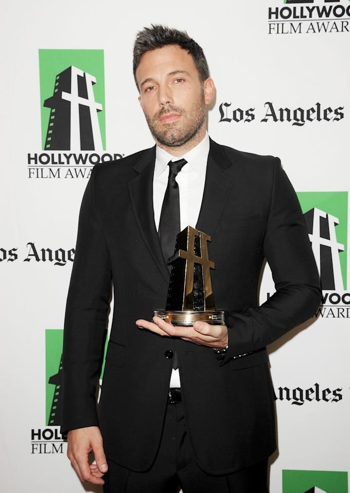 BEVERLY HILLS, CA - OCTOBER 22:  Actor Ben Affleck poses with the Hollywood Ensemble Acting Award during the 16th Annual Hollywood Film Awards Gala presented by The Los Angeles Times held at The Beverly Hilton Hotel on October 22, 2012 in Beverly Hills, California.  (Photo by Jason Merritt/Getty Images)