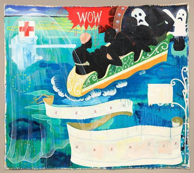 This undated handout image provided by the National Gallery of Art shows Kerry James Marshall 1994 acrylic and collage on canvas entitled: Great America, which is part of an exhibit at the National Gallery of Art in Washington which is part of an exhibit at the National Portrait Gallery in Washington focusing on more than 150 years of African-American history from slavery to civil rights and contemporary suburban life. (AP Photo/National Gallery of Art)