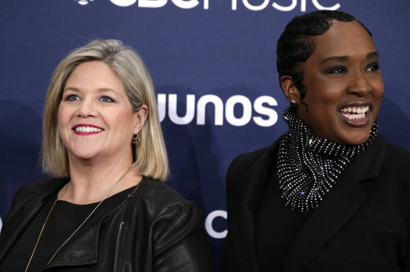 Ontario's NDP leader Andrea Horwath, left, and Toronto MPP Jill Andrew look thrilled to be out of Queen's Park for the night.