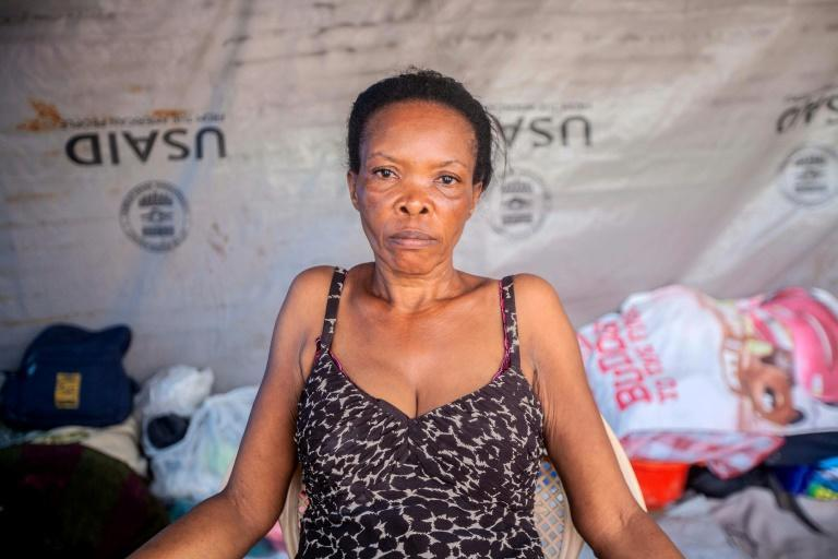 Vesta Guerrier lives in a makeshift camp where there are no working toilets and no privacy