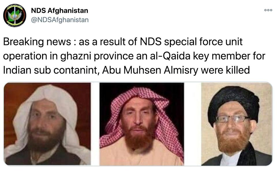 A tweet from NDS Afghanistan saying that they had killed Abu Muhsin al-Masri in operations, accompanied by three profile photos of al-Masri - NDS Afghanistan via Twitter/via REUTERS