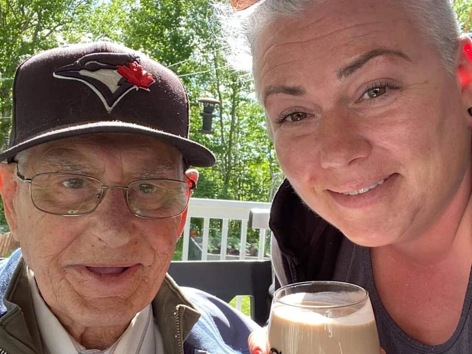 Joanne McGouey and her dad, Colin Tulip, in one of the photos she posted to Instagram. (Instagram@joannemcgouey - image credit)