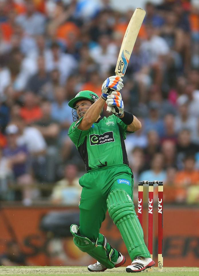 PERTH, AUSTRALIA - JANUARY 16:  Brad Hodge of the Stars bats during the Big Bash League semi-final match between the Perth Scorchers and the Melbourne Stars at the WACA on January 16, 2013 in Perth, Australia.  (Photo by Robert Cianflone/Getty Images)