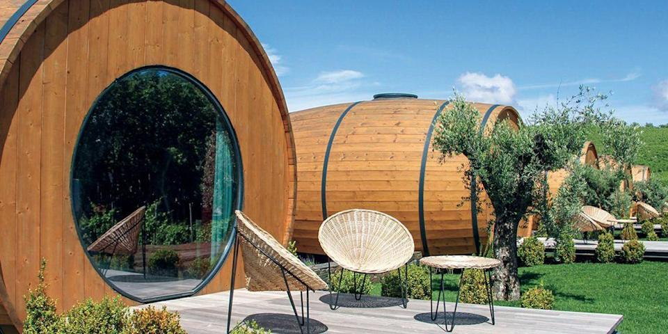 """<p>Wine lovers will get a kick out of sleeping in a wine barrel. Portugal's <a href=""""https://go.redirectingat.com?id=74968X1596630&url=https%3A%2F%2Fwww.tripadvisor.com%2FAttraction_Review-g189175-d8047878-Reviews-Quinta_da_Pacheca-Lamego_Viseu_District_Northern_Portugal.html&sref=https%3A%2F%2Fwww.elledecor.com%2Flife-culture%2Fg37430670%2Funique-unusual-hotels-in-the-world%2F"""" rel=""""nofollow noopener"""" target=""""_blank"""" data-ylk=""""slk:Quinta da Pacheca"""" class=""""link rapid-noclick-resp"""">Quinta da Pacheca </a>hotel (shown here), located on a winery in the Duoro Valley, offers 10 stylish suites made out of massive oak barrels, complete with decks and skylights. </p><p>Other hotels to offer this unique lodging type include the <a href=""""http://www.hotel-vrouwevanstavoren.nl/Engels/indexengels.htm"""" rel=""""nofollow noopener"""" target=""""_blank"""" data-ylk=""""slk:Hotel de Vrouwe van Stavoren"""" class=""""link rapid-noclick-resp"""">Hotel de Vrouwe van Stavoren</a> in the Netherlands and <a href=""""https://go.redirectingat.com?id=74968X1596630&url=https%3A%2F%2Fwww.tripadvisor.com%2FHotel_Review-g187345-d277510-Reviews-Hotel_Lindenwirt-Ruedesheim_am_Rhein_Hesse.html&sref=https%3A%2F%2Fwww.elledecor.com%2Flife-culture%2Fg37430670%2Funique-unusual-hotels-in-the-world%2F"""" rel=""""nofollow noopener"""" target=""""_blank"""" data-ylk=""""slk:Lindenwirt Hotel"""" class=""""link rapid-noclick-resp"""">Lindenwirt Hotel</a> in Germany. </p><p><strong>More:</strong> <a href=""""https://www.bestproducts.com/lifestyle/g2298/outrageous-air-bnb-rentals-homes/"""" rel=""""nofollow noopener"""" target=""""_blank"""" data-ylk=""""slk:For More Crazy Places to Stay, Check Out These Outrageous Airbnbs"""" class=""""link rapid-noclick-resp"""">For More Crazy Places to Stay, Check Out These Outrageous Airbnbs</a></p>"""