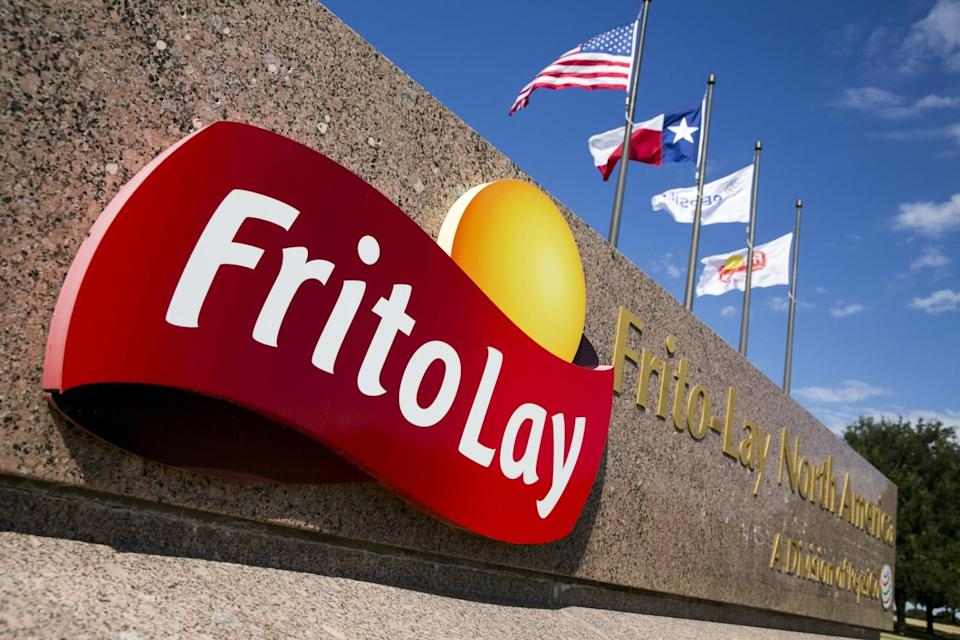 The red and yellow Frito-Lay logo on a sign that says Frito-Lay North America, a division of Pepsi Co