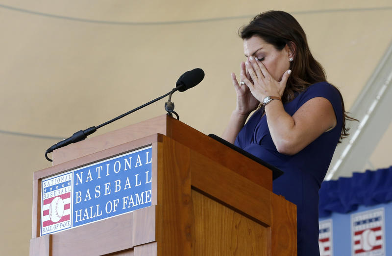 COOPERSTOWN, NEW YORK - JULY 21: Brandy Halladay speaks on behalf of her late husband, Roy Halladay, during the Baseball Hall of Fame induction ceremony at Clark Sports Center on July 21, 2019 in Cooperstown, New York. (Photo by Jim McIsaac/Getty Images)