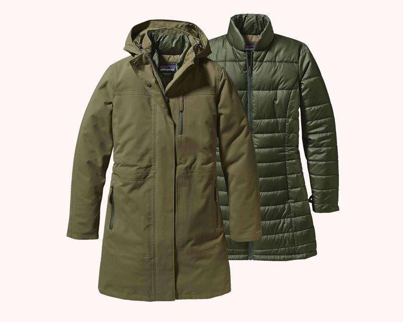 An olive green Patagonia parka-puffer jacket