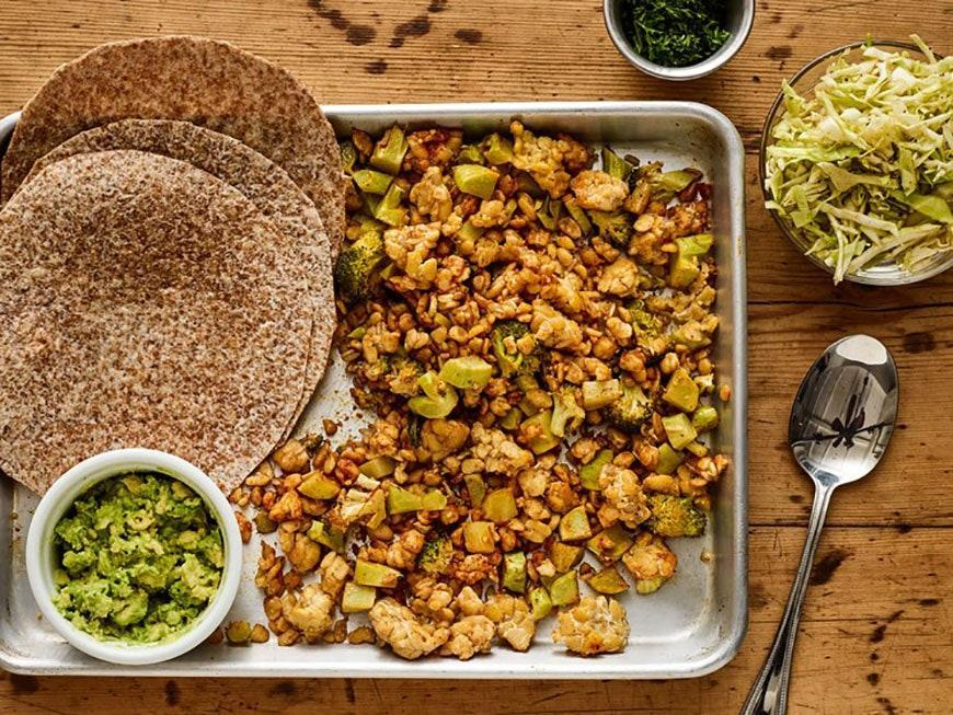 """<p>Tempeh has a nutty, hearty texture that's super satisfying in tacos.</p> <p>Get the recipe <a href=""""https://www.self.com/recipe/sheet-pan-crispy-tempeh-and-broccoli-tacos-with-shredded-cabbage-and-mashed-avocado?mbid=synd_yahoo_rss"""" rel=""""nofollow noopener"""" target=""""_blank"""" data-ylk=""""slk:here"""" class=""""link rapid-noclick-resp"""">here</a>.</p>"""