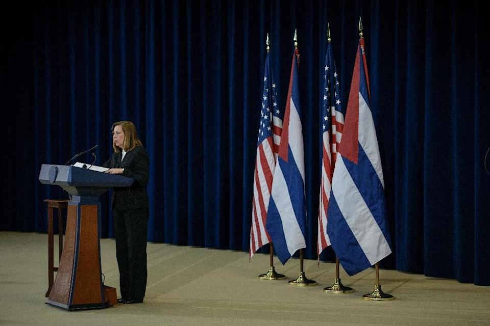 Cuban head of delegation Josefina Vidal speaks to the press after talks at the US State Department in Washington, DC on February 27, 2015 (AFP Photo/Brendan Smialowski)