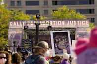Protesters attend a rally in Washington to defend access to abortion, part of a wave of marches planned for Oct 2, 2021 (AFP/Leigh Vogel)